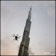 Our drone flew over where the world tallest structure, is located. Burj Khalifa, Aerial View, Dubai, Tours, World, Building, Travel, Viajes, Buildings
