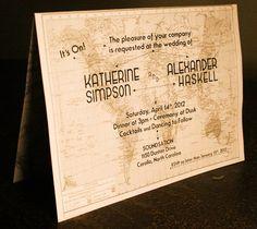 Vintage Travel Themed Wedding Invitation & Paperie