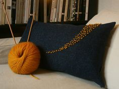 Harris Tweed Embroidered Cushion Cover in Navy by CharcoalChalk