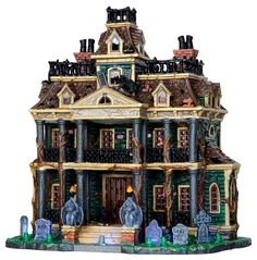 gothic, haunted mansion, haunted house, spooky house by Lemax Collections Halloween Town, Halloween Village Display, Halloween Ideas, Halloween Queen, Halloween Costumes, Haunted Dollhouse, Haunted Mansion, Haunted Houses, Lemax Village