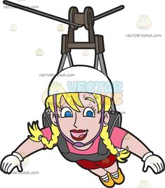 A Carefree Woman Zip Lining: A woman with blonde hair in braided pigtails wearing a white helmet gloves pink shirt red shorts yellow orange shoes smiles in delight while zip lining Pigtail Braids, Braided Pigtails, Travel Clipart, Orange Shoes, Red Shorts, Caricature, Line, Blonde Hair, Zip Lining