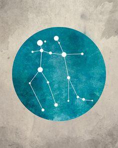 Constellation Gemini Gemini Art by blackandthemoon on Etsy
