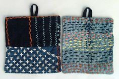 Make Simple Embroidered Oven Mitts! Sashiko Embroidery, Embroidery Stitches, Boro, Art Textile, Japanese Textiles, Kantha Stitch, Running Stitch, Needle And Thread, Fabric Art