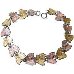 Vintage Meka Pink and Yellow Enamel Butterfly Charm Bracelet 8' Length Vintage Silver Jewelry, Pink Yellow, Vintage Fashion, Enamel, Butterfly, Charmed, Bracelets, Vitreous Enamel, Enamels