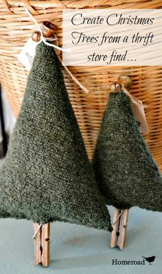 Boiled Wool Christmas Trees www.homeroad.net