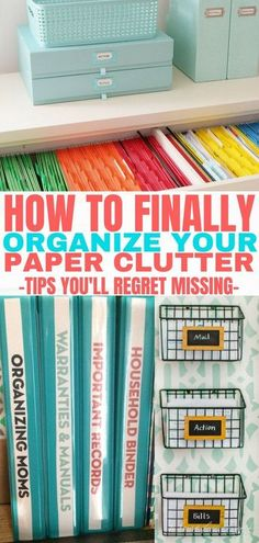 These paper clutter organization ideas are life changing. My favorite idea is th… These paper clutter organization ideas are life changing. My favorite idea is the home organization binder. Finally, organize your paper clutter! Organisation Hacks, Organizing Hacks, Organizing Paperwork, Clutter Organization, Home Office Organization, Organizing Your Home, Office Decor, Organizing Paper Clutter, Office Ideas
