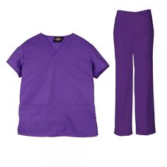 Dickies Unisex Set in Iris. The Dickies Unisex Set consists of the Dickies Unisex Scrub Top and the Dickies Unisex Drawstring Trousers. The top features a generous fit making it extra comfortable and two front pockets. The trousers feature an elasticated drawstring waist and a number of pockets to store all your belongings. £34  #nursescrubs #dentistuniform #nurses #dentists #purplescrubs