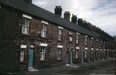 Colour photographic transparency showing houses on Factory Row, St.Addition to the row built in mid-nineteenth century for workers of British Plate Glass Company in . 1960s Britain, Saint Helens, Family Album, Glass Company, Back In The Day, Vintage Images, Old Photos, The Row, Old Things