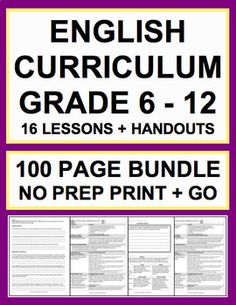 ELA Lessons Bundle: 16 NO PREP Lesson Plans & Handouts for English language Arts Entire Curriculum! 16 top-rated products = $1 per lesson! Teach inferencing, context clues, reading comprehension strategies, characterization, theme, paraphrase, main idea, irony, rhetoric, conflict and plot, setting and sensory language, connotative language, mood and tone, point of view, author's purpose, and more!