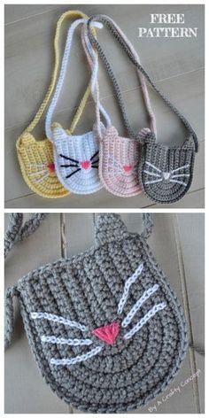 Crochet Cat Purse Patterns all& gratis - # Patterns all& . Crochet Cat Purse Patterns all& Chat Crochet, Crochet Diy, Crochet Gifts, Crochet Food, Crochet Handbags, Crochet Purses, Crochet Bags, Knitting Patterns, Crochet Patterns