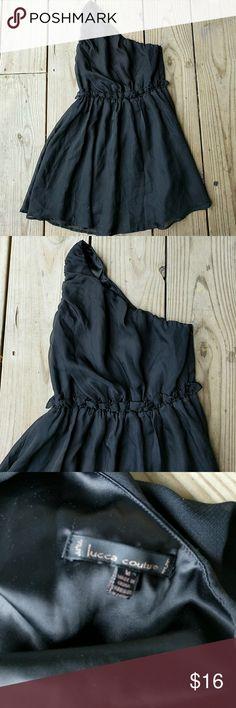 Black Lucca Cuuture coctail dress Black, one shoulder, lined, poly, size med Lucca Couture Dresses One Shoulder
