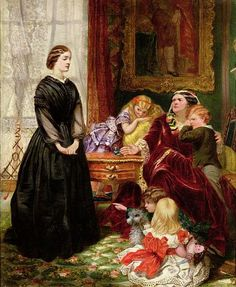 The Governess, 1860, oil on canvas by Emily Mary Osborn, 1828-1925, British Victorian era's most popular female artist. Found at the Yale Center for British Art, Hartford, Connecticut, USA. Class distinction is apparent as mother's little darlings prepare to make life very difficult for the new governess.