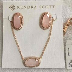 Kendra Scott Rose Quartz Elaine Earrings and Lux Elisa Necklace - Mercari: Anyone can buy & sell