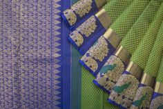 Handwoven Kanjivaram Silk Sari with Mayil and Yaanai Border 1031583 - Saris / All Saris - Parisera