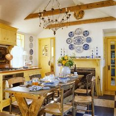 Blue and yellow kitchen accessories blue and yellow kitchen french country kitchen blue and yellow best blue yellow kitchens ideas on blue and yellow Cozy Kitchen, Rustic Kitchen, Kitchen Decor, Rustic Room, Dining Decor, Rustic Table, Farmhouse Table, Vintage Kitchen, Kitchen Ideas