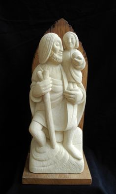 St Christopher and Child, by Lucy Churchill. Caen limestone with oak base (made from a c church gate post). Gate Post, Saint Christopher, Churchill, Hand Carved, Original Artwork, Saints, Carving, Base, Child