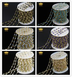 2x3mm Small Glass Faceted Rondelle Beads Cluster Bulk Chain Spools Wholesale Rosary Chains with Plated Gold Chain 6 Color LS09-1