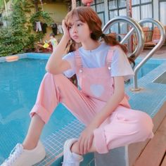 Summer soft sister Japanese girl lovely girl Pink overalls Strap pants – Kawaii, Pastel Goth, K-Fashion und co. Outfits Clueless, Girl Outfits, Cute Outfits, Spring Outfits, Fashion Outfits, Outfit Summer, Grunge Outfits, Pastel Fashion, Cute Fashion