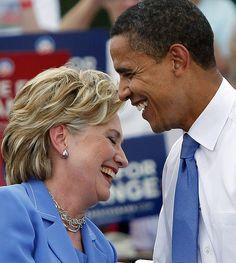 Barack Obama et Hillary Clinton by babadie, via Flickr