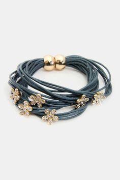 Flower Charm & String Bracelet - Grey