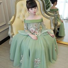 Princes Dresses Girls Embroidered Flowers Dress