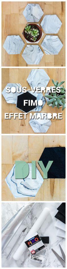 Sous-verres DIY à effet marbre blanc géométriques en pâte polymère FIMO et feutre - Easy geometric hexagon withe marble effect coasters made of FIMO polymer clay DIY - Carton Carton