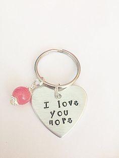 I Love You More Keyring  Hand Stamped Keyring  I Love by EmmaFleet