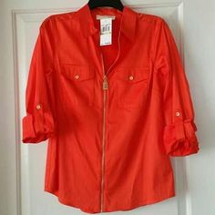 Michael Kors Zip Up Blouse - Mandarin Orange Xs New without tags - perfect condition Michael Kors Tops Blouses