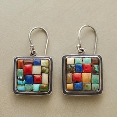 "AZTEC MOSAIC EARRINGS -- Our Aztec Mosaic Earrings are works of art in colorful green and blue turquoise, coral, lapis, fossilized ivory and natural wood. Sterling silver. Exclusive. 1-3/8""L."