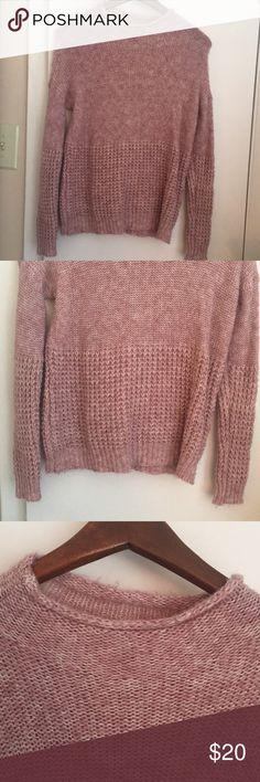 Pink sweater Light pink sweater with two different patterns on it. Took photos so you can see both patterns on the sweater. American Eagle Outfitters Sweaters