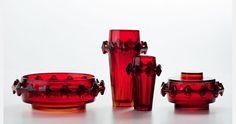 "Eryka and Jan Drostowie, ""Diatret"", applied glass set, designed by Jan Sylwester Drost, produced by the Ząbkowice Household Glass Works in Ząbkowice Śląskie, 1973"