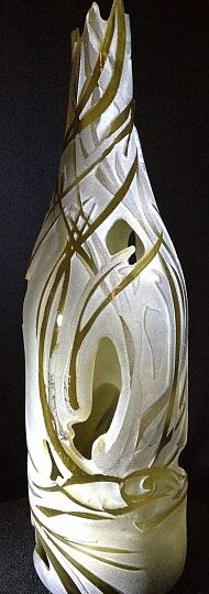 Gorgeous upcycled sandblasted glass sculpture!