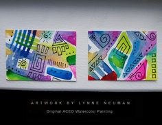 Latest addition to my #etsy shop: Two Original Hand-Painted Abstract Mini Watercolors Signed Paintings by Lynne Neuman Miniature Small Format Art ATC Fiesta Colors http://etsy.me/2C81r6A  #ACEOs #smallart #artisttradingcards