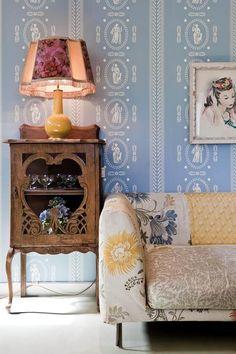 pattern on pattern living room via Desire to Inspire