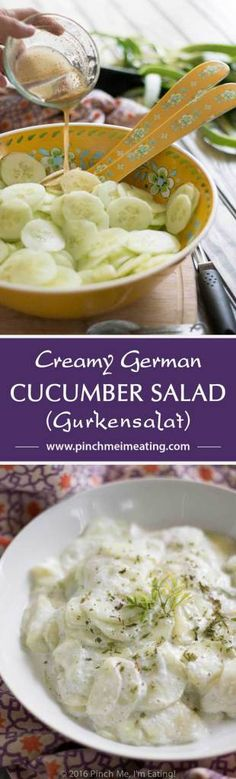 This creamy German cucumber salad, or Gurkensalat, is the perfect companion side dish for bratwurst or burgers. Tangy, sweet, and fresh, it's a deliciously easy summer salad. | www.pinchmeimeating.com