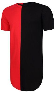 Unisex Hip Hop Contrast Longline T Shirts Y1294-2 - PIZOFF