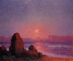 Ferdinand Loyen Du Puigaudeau Paintings-Sunset of the Breton Coast
