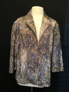 Chico's 3 Blazer Jacket Sz L 16 Gold Metallic Embroidery Jacquard Blues White   eBay