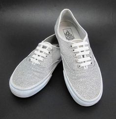 Vans Classic Glitter Shoes Silver Womans 8.5 Mens 7 Sparkle Metallic Lace Up