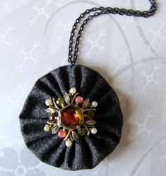 Handmade Fabric Yo Yo Necklace in Black with Vintage Rhinestones