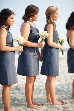 navy bridesmaid dresses by J. Crew.