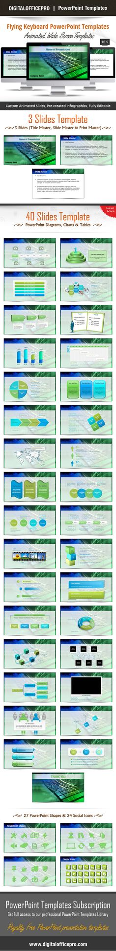 Clean inspiration powerpoint template 127 unique slides flying keyboard powerpoint template backgrounds toneelgroepblik Choice Image