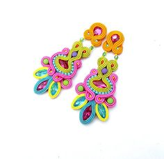 High Fashion Clip-On Earrings Long Dangle Earrings Soutache Earrings Colorful Jewelry