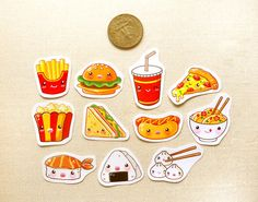 Food Stickers, Planner Stickers, Sushi Stickers, Pizza Stickers with regard to Cute Food Stickers 8378 Food Stickers, Kawaii Stickers, Printable Planner Stickers, Cute Stickers, Printables, Hat Crafts, Diy And Crafts, Paper Crafts, Kawaii Planner