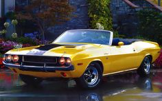 1970 Dodge Challenger R T 440 Magnum Convertible Top Banana,,7206cm³ 439.7ın³ , advertised power:279.5 kW-375Hp 380 PS ( SAE gross ), Torque net 654 Nm 482 lb-ft   0-100' mph 5.5sc 0- 100 kmh 5.8  Vmax 211 kmh-131 mph (theoretical)