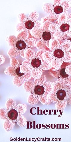 Learn how to crochet these pretty Cherry Blossoms! Free pattern, easy spring project, crochet flowers applique, Celebrate Spring season with these beautiful crochet Cherry Blossoms! Easy and quick to make, and perfect for any Spring decoration! Crochet Flower Tutorial, Crochet Flower Patterns, Bouquet Crochet, Crochet Crafts, Crochet Projects, Beau Crochet, Crochet Simple, Confection Au Crochet, Easy Crochet Blanket