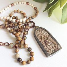 Rustic sitting Buddha pendant necklace gemstone beaded