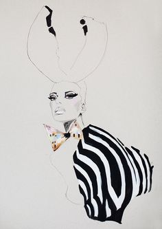 Fashion illustration, acrylic painting, girl with antlers, zebra print, makeup, black and white, dickie bow.