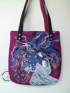 """Schultertaschen - Tasche gefilzt """"Mondträume"""" Shopper - ein Designerstück von SweetDecor bei DaWanda"""