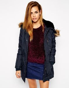 Schott NYC Parka Coat With Faux Fur Hood